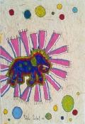ELEFANTE SAGRADO, 2011, 30 x 20 cm, Acryl und Tusche auf handgeschöpftem Papier