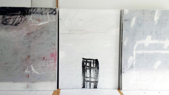 Tafelbilder von Gabriele Strecker, Atelieransicht